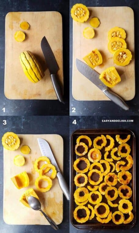 four photo collage showing how to cook delicata squash in the oven
