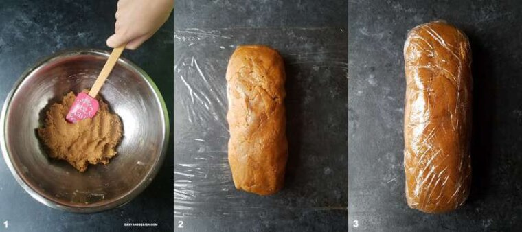 3 collage photos showing the process on how to make cinnamon cookies recipe