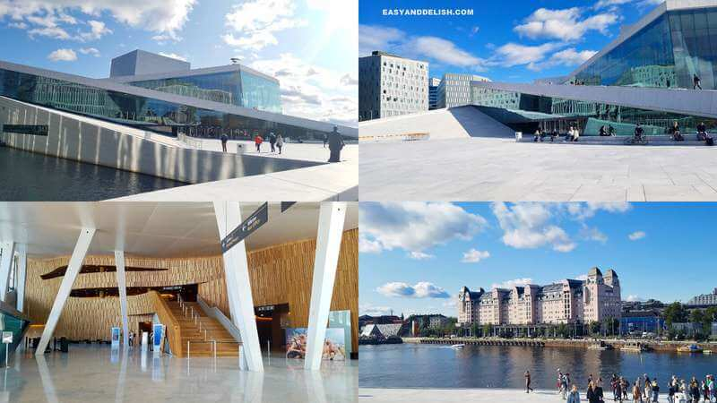 4 photo collage of the Oslo Opera House (interior and exterior) -- one of the things to do in Norway on a budget