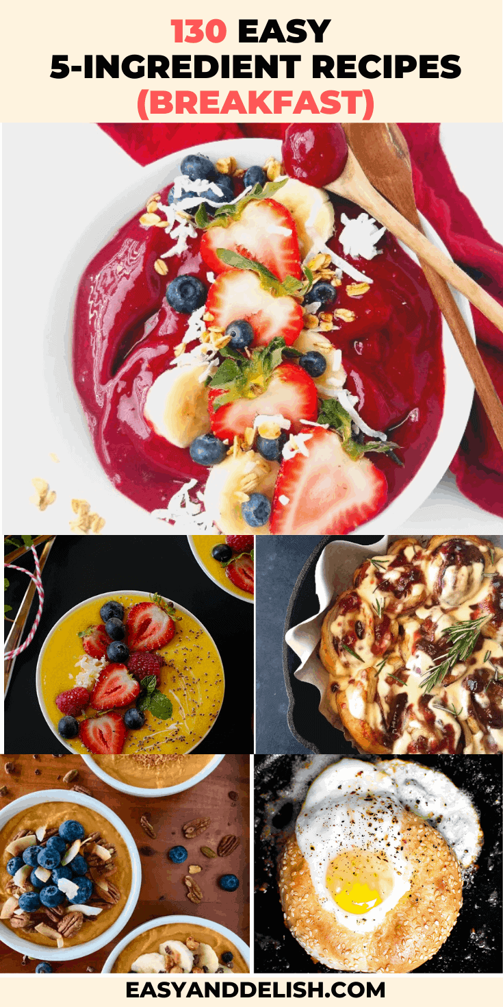 collage of 130 easy 5-ingredient recipes for breakfast
