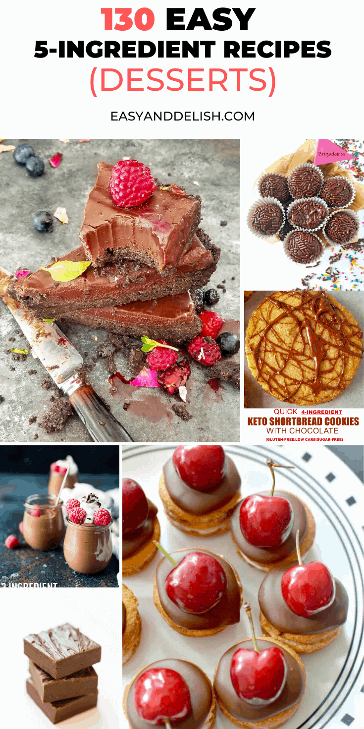 photo collage of 130 easy 5-ingredient or less recipes for dessert