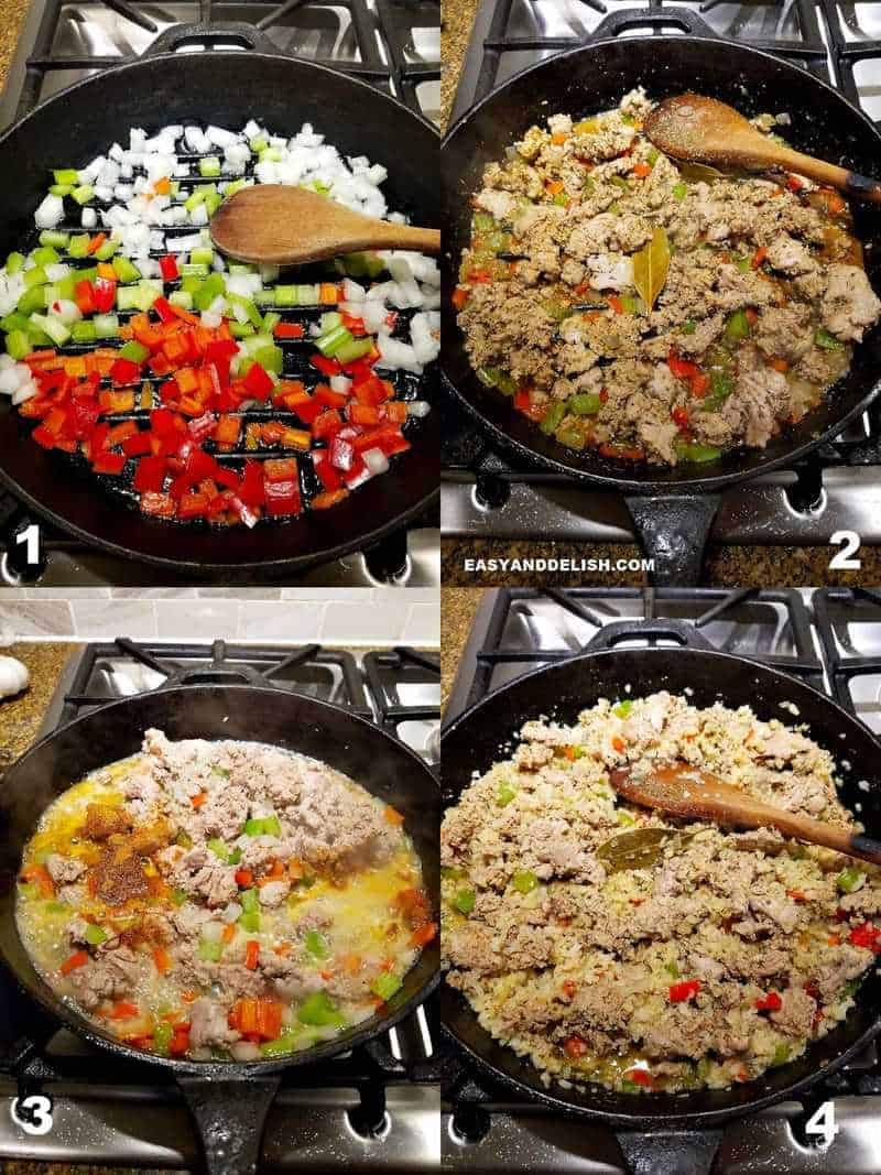 4 collage images showing the instruction on how to make cajun dirty rice