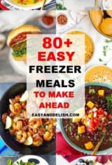 image collage with Easy freezer meals to make ahead -- pinterest