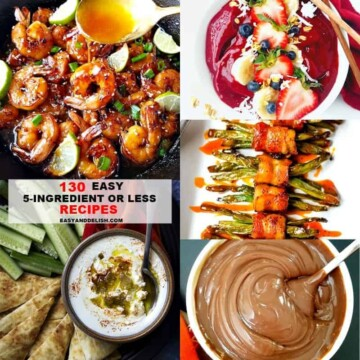Many different types of food made with 5 ingredients or less