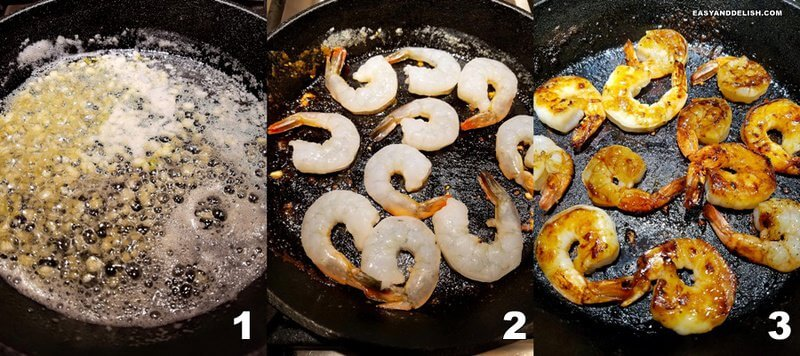 photo collage showing 3 steps to prepare butter shrimp recipe