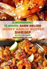 image collage showing honey garlic butter shrimp