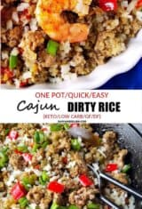 Image collage of cajun dirty rice with and without shrimp