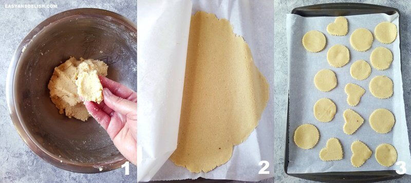 three collage images showing the process on how to make keto shortbread cookies