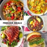 easy freezer meals to make ahead --image collage