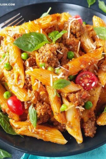 close up of a bowl of pasta Bolognese
