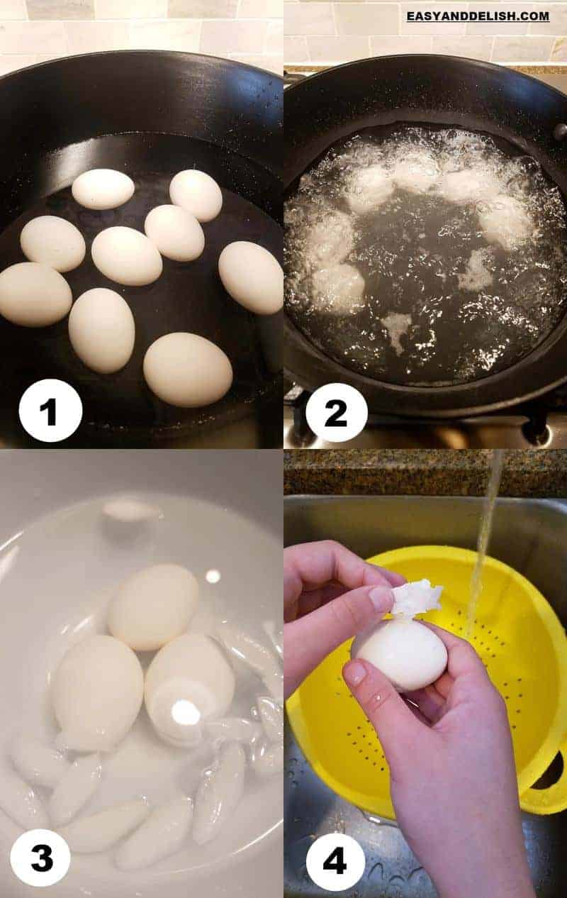 colllage with 2 images showing how to hard boil eggs