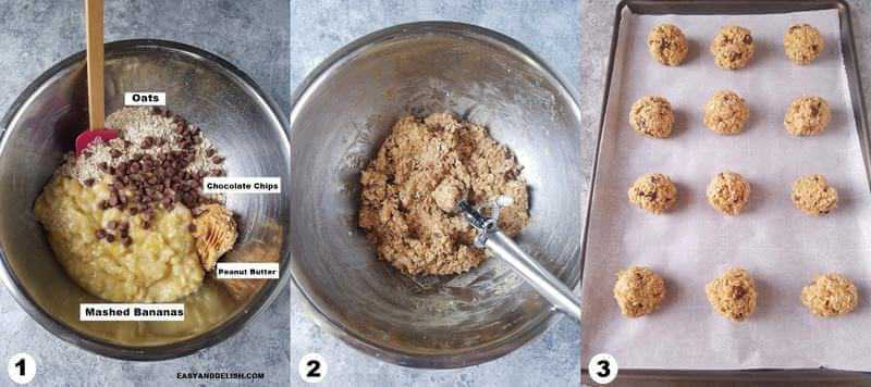 3 collage images showing how to make oatmeal chocolate chip cookies