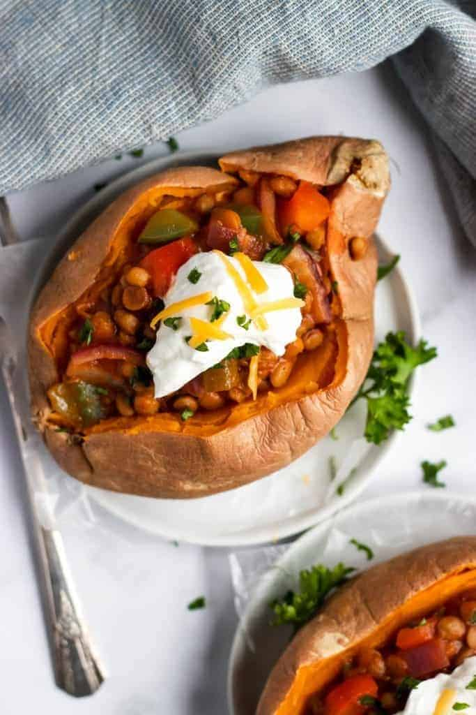 lentil sloppy Joe over a sweet potato as one of our pantry recipes