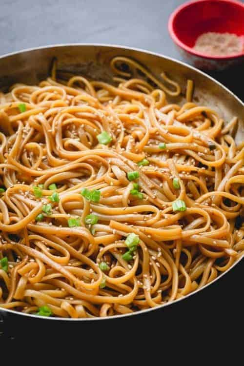 sesame noodles in a large pan for our 35 pantry recipes