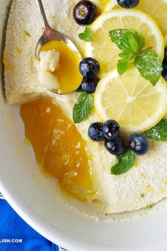 close up of lemon pudding cake