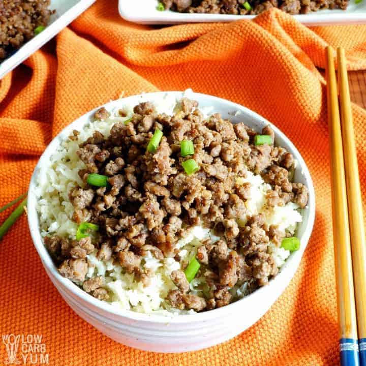 Korean ground beef with rice and chopsticks on the side