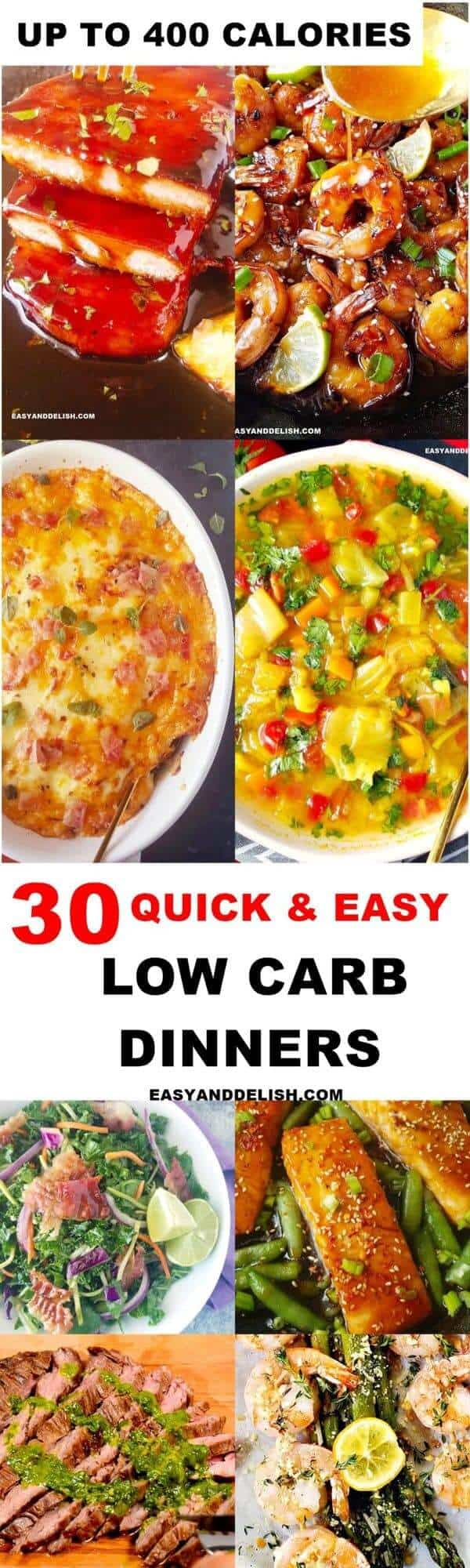 a photo collage with 8 images of quick and easy low carb dinners