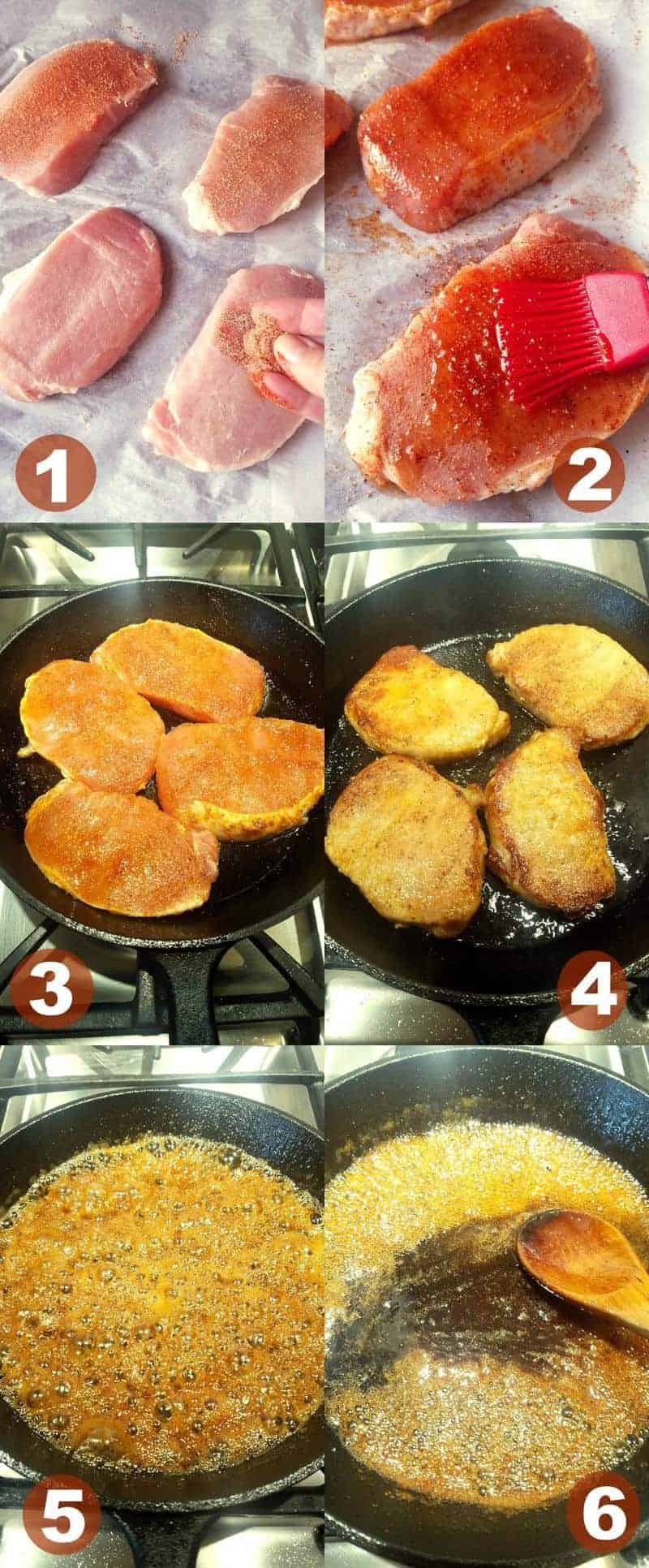 six collage images showing how to make broiled pork chops