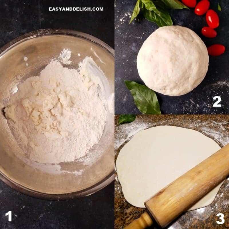 2 imagens mostrando como fazer a massa de pizza fácil sem fermento com apenas 2 ingredientes