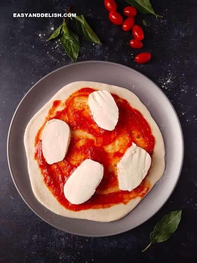massa de pizza simples com recheio de molho de tomate e queijo