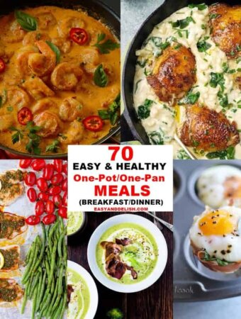 A bunch of different types of healthy food made in one pot or pan