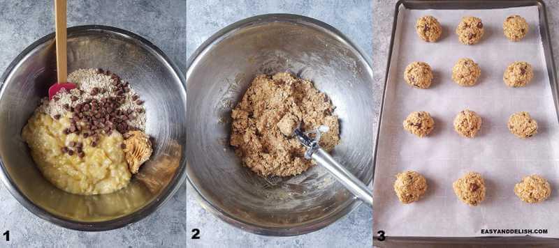 3 fotos mostrando como fazer cookies de aveia com gotas de chocolate fit