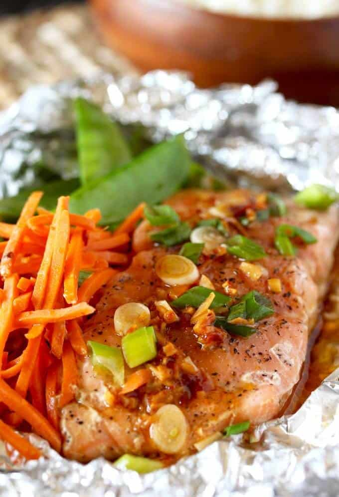 salmon in foil with veggies