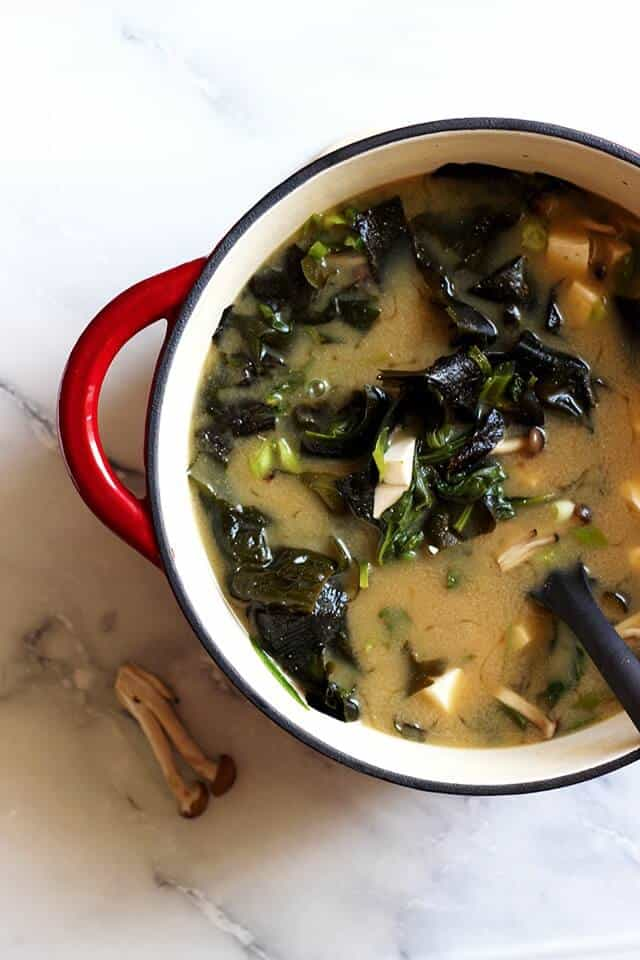 one pot of Japanese miso soup as one the 70 easy one pot meals