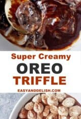 2 images collage showing oreo trifle