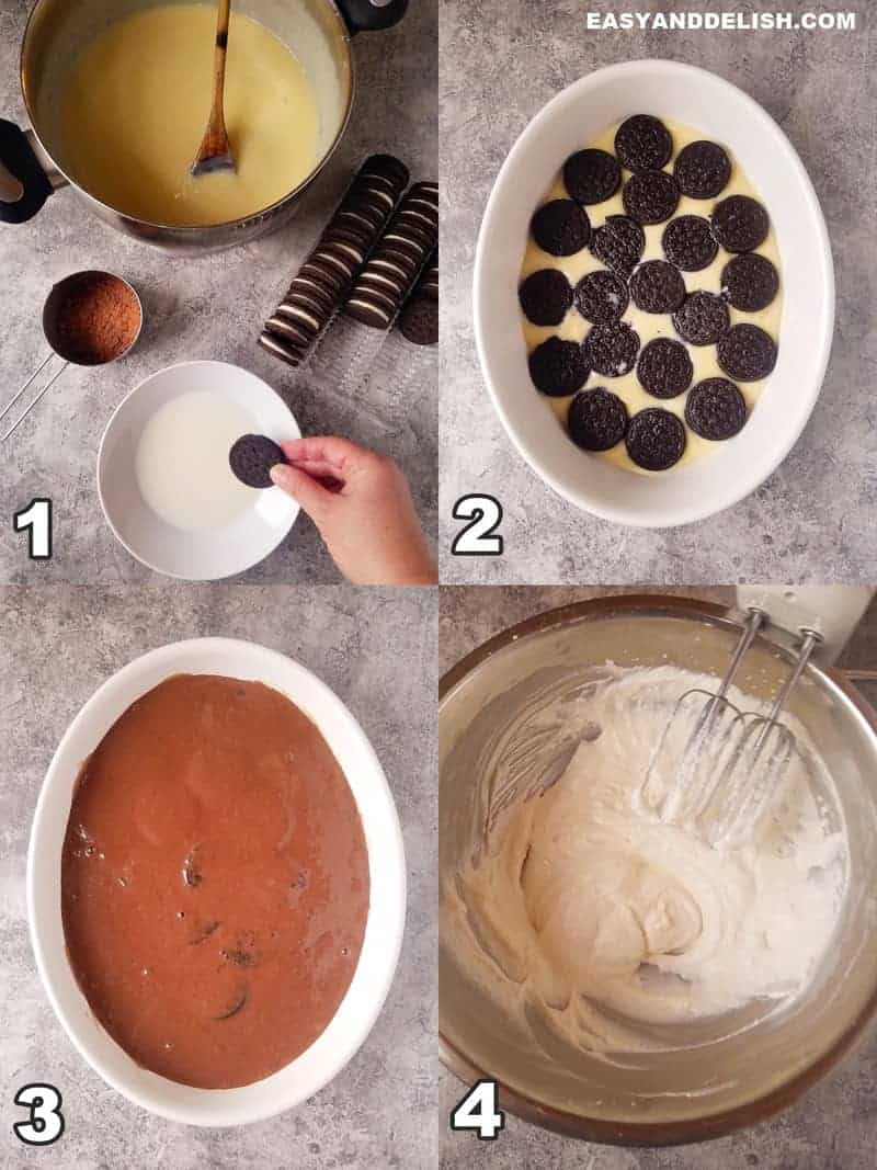 4 image collage showing how to make Oreo trifle recipe
