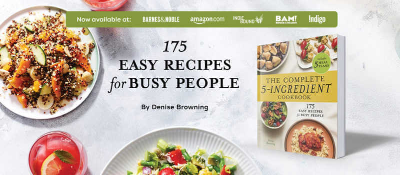 image containing the complete 5-ingredeint cookbook with some dishes and a tag where to buy
