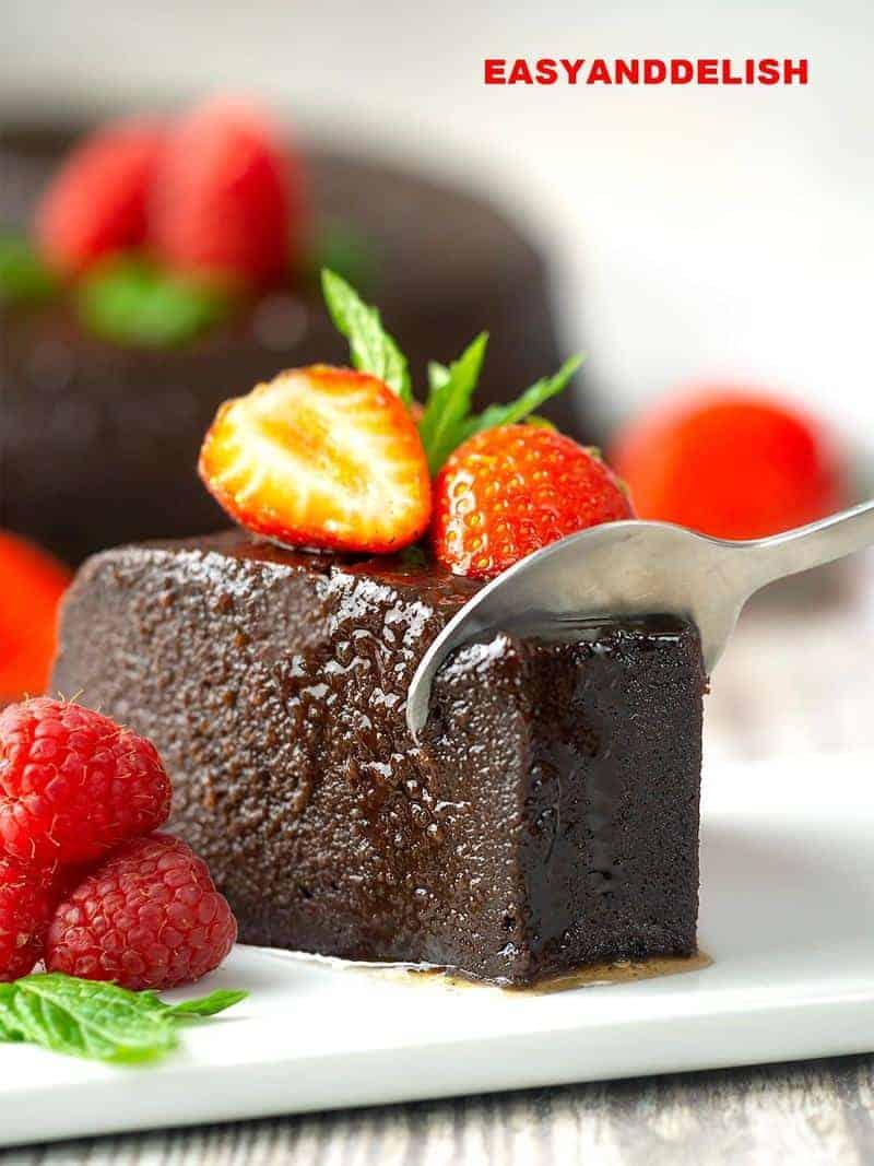 spooning the dessert