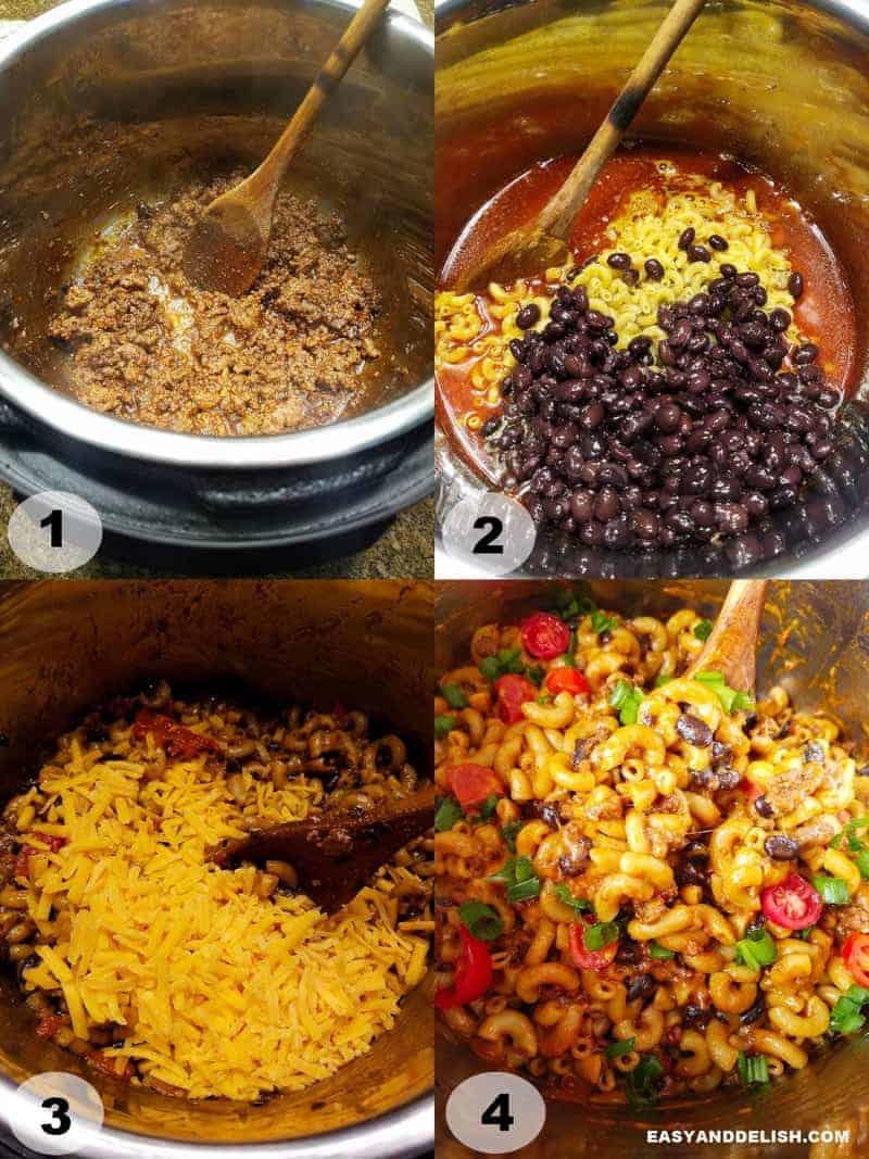 quatro fotos mostrando como fazer o macarrão na panela de pressão com carne moída