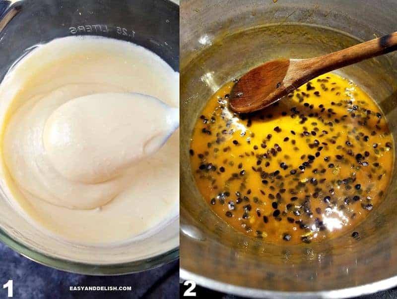 duas fotos mostrando como fazer mousse de maracujá