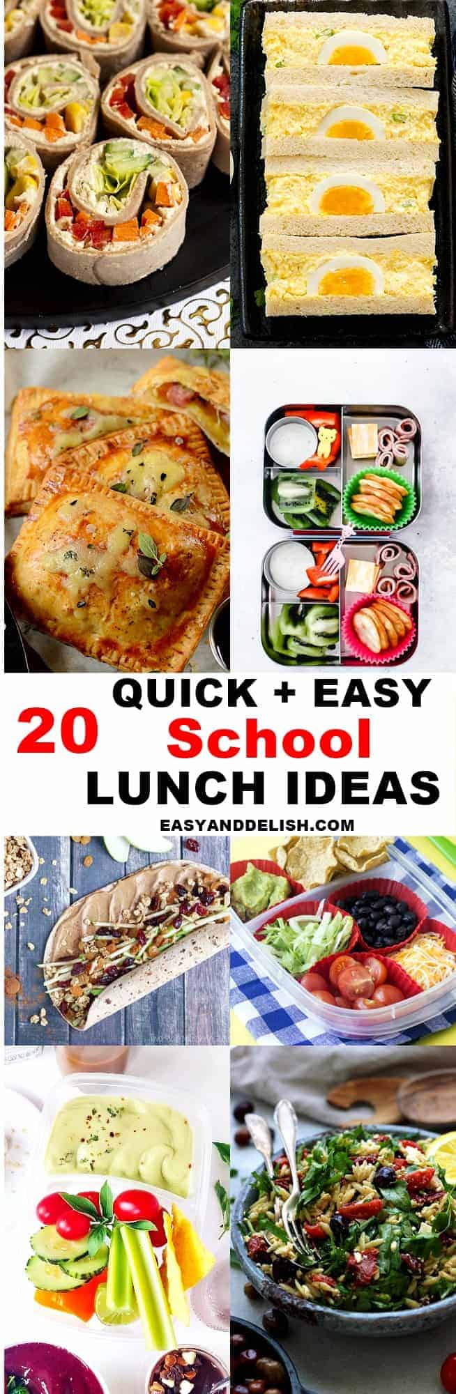photo collage of back to school kids lunch ideas