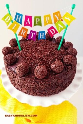 brigadeiro cake with happy birthday cake bunting topper