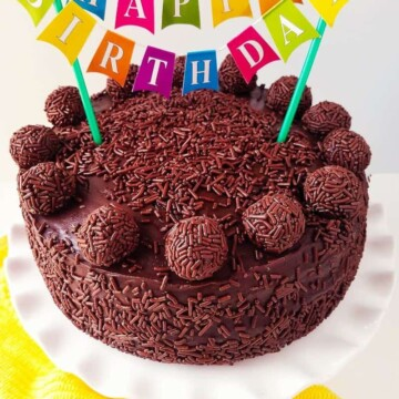 brigadeiro cake with happy birthday cake bunting topper