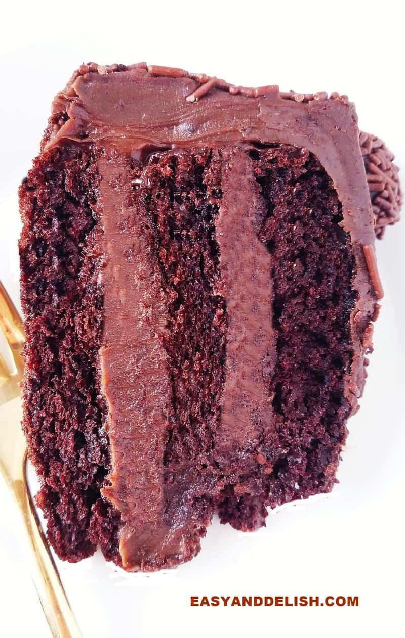 close up of a slice of brigadeiro cake