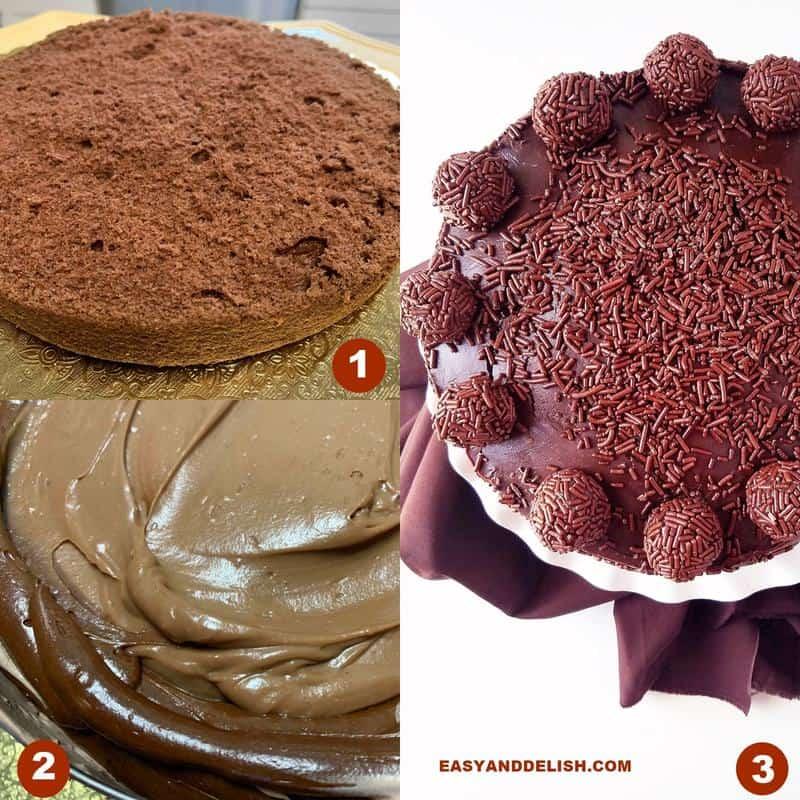 3 fotos mostrando como fazer a receita de bolo de brigadeiro