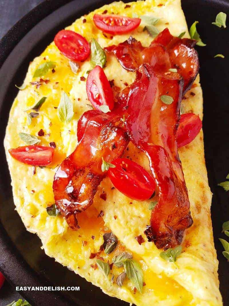 close up photo of filled and topped omelet