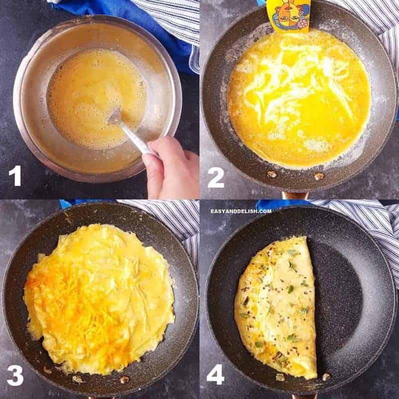 foto colagem mostrando como fazer omelte simples no fogão