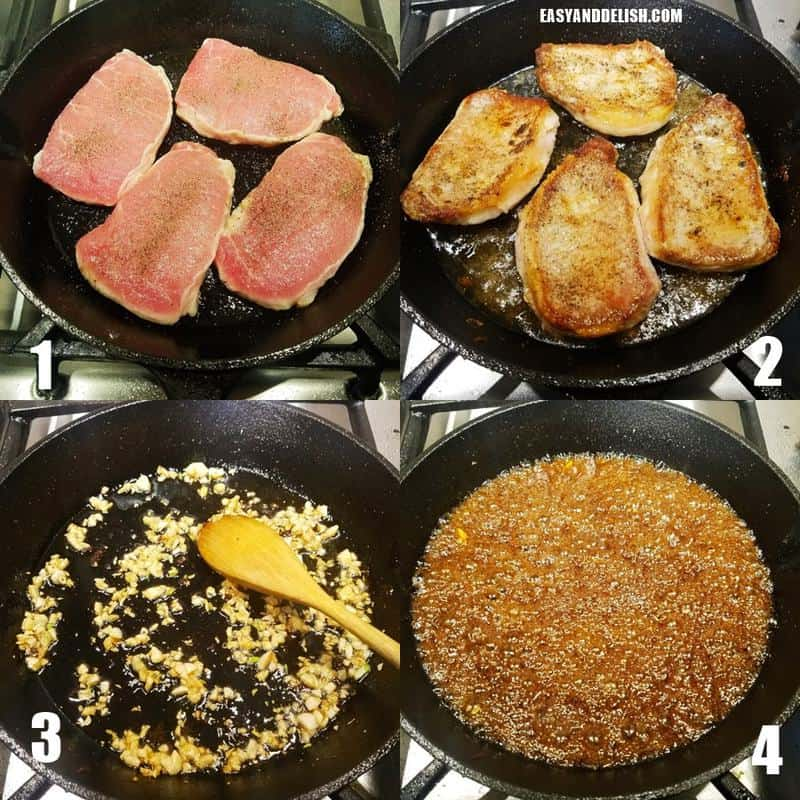 four photo collage showing how to make pan seared pork chops step-by-step