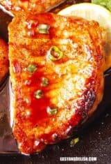 close up of one of the pan seared pork chops