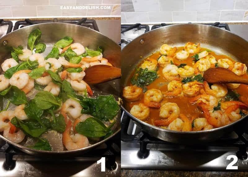 duas fotos mostrando como fazer macarrão com camarão