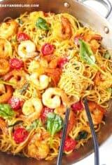 Garlic Shrimp Spaghetti (One Pan/Quick & Easy)