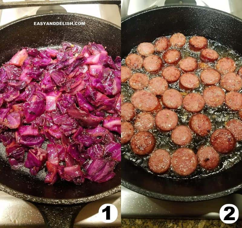 two image collage showing how to make cabbage and sausage recipe