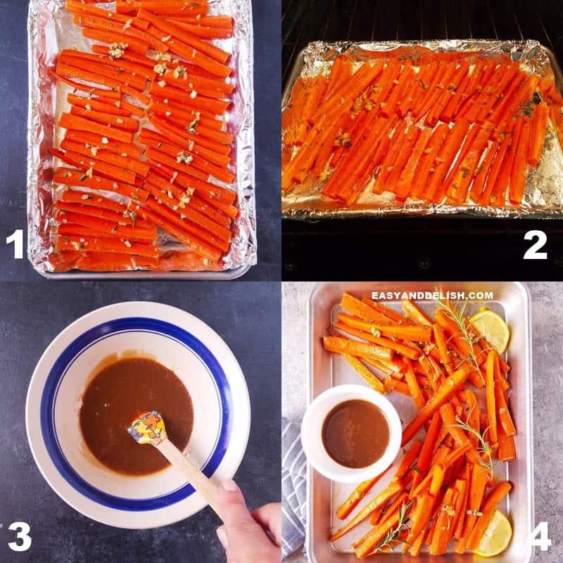 fotos mostrando como fazer cenoura assada com molho de mel e mostarda