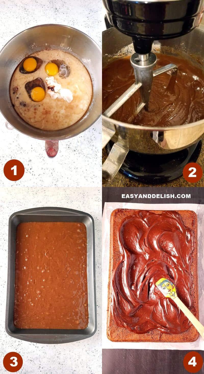 foto colagem mostrando como fazer bolo de chocolate fofinho