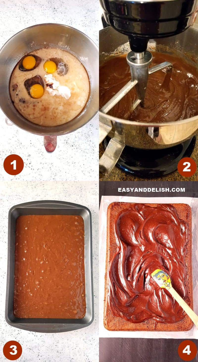 collage image showing how to make death by chocolate cake recipe
