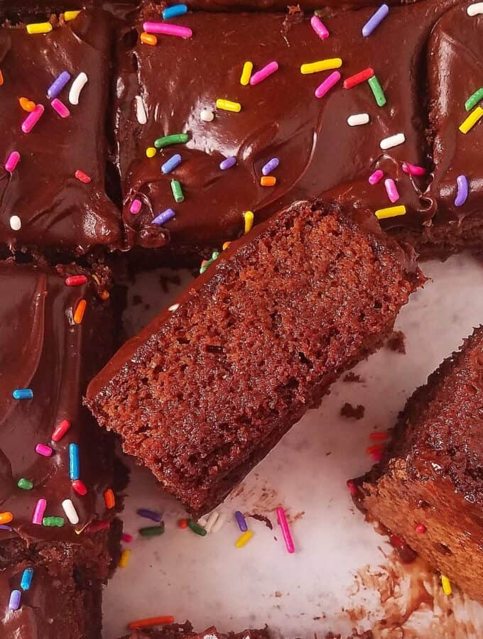 death by chocolate cake partially sliced
